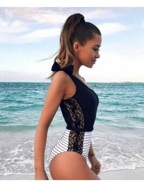 Sexy Black Stripe Pattern Decorated One-piece Swimwear