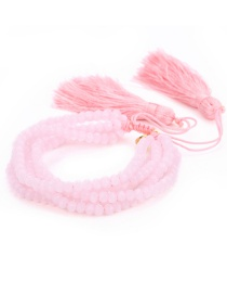Fashion Pink Tassel&beads Decorated Pure Color Bracelet