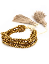 Fashion Gold Color+gray Tassel&beads Decorated Simple Bracelet