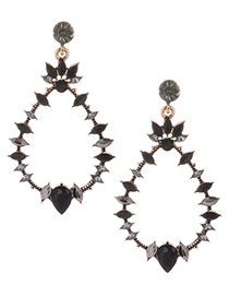 Fashion Black Pure Color Design Waterdrop Shape Earrings