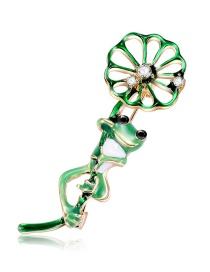 Fashion Multi-color Lotus Leaf&frog Shape Decorated Brooch