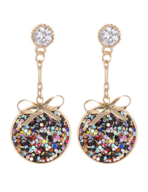 Elegant Multi-color Bowknot Decorated Round Shape Earrings