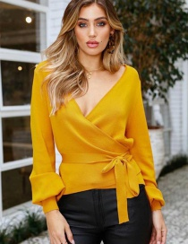 Sweet Yellow V Neckline Design Pure Color Sweater