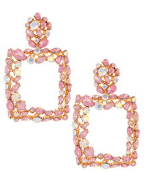 Fashion Pink Full Diamond Decorated Square Shape Earrings