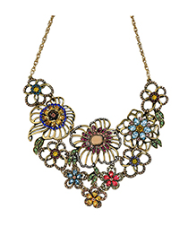 Vintage Multi-color Flower Shape Decorated Necklace