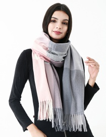 Fashion Gray Grids Pattern Decorated Scarf