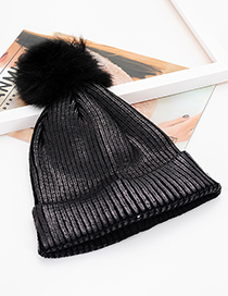 Fashion Black Pure Color Decorated Hat