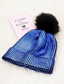 Fashion Sapphire Blue Pure Color Decorated Hat
