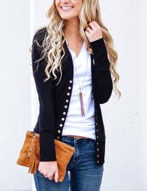 Fashion Black Pure Color Decorated Sweater