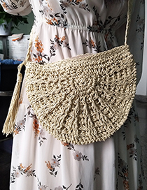Fashion Beige Pure Color Decorated Bag