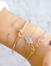 Fashion Gold Color Triangle Shape Decorated Bracelet (4 Pcs )