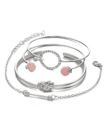 Fashion Silver Color Circular Ring Shape Decorated Bracelet (4 Pcs )