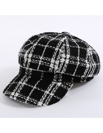 Simple Black Grid Pattern Decorated Hat