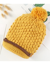 Simple Yellow Pom Ball Decorated Pure Color Hat