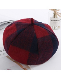 Fashion Claret Red Grid Pattern Decorated Berets