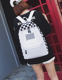 Vintage White Grid Pattern Decorated Backpack