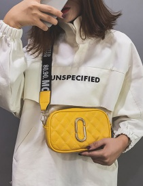 Simple Yellow Square Shape Decorated Shoulder Bag