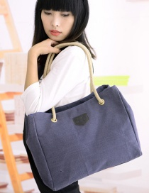Simple Blue Pure Color Decorated Handbag