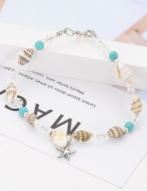 Fashion Green Shell Shape Decorated Anklets
