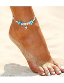 Fashion Green Starfish Shape Decorated Anklets