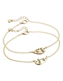 Fashion Gold Color Letter Pattern Decorated Bracelet (2 Pcs )