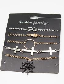 Fashion Multi-color Cross Shape Decorated Bracelet (5 Pcs )