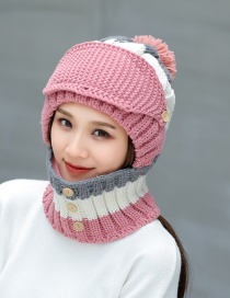 Fashion Pink Pom Ball Decorated Pure Color Hat (3 Pcs )