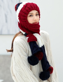 Fashion Claret Red Color Matching Decorated Hat