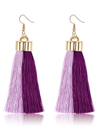 Fashion Purple+pink Tassel Decorated Earrings