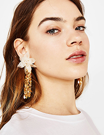 Simple White Flower Shape Decorated Earrings
