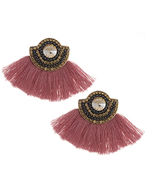 Fashion Pink+champagne Tassel&diamonde Decorated Earrings