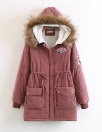 Fashion Dark Pink Letter Pattern Decorated Pure Color Coat