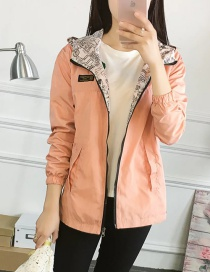 Fashion Pink Zipper Decorated Pure Color Jacket