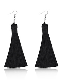 Elegant Black Pure Color Design Long Tasel Earrings