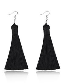 Elegant Black Pure Color Design Long Tasel Earrings