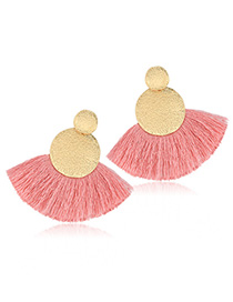 Elegant Pink Sector Shape Design Simple Tassel Earrings