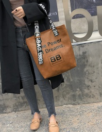 Fashion Brown Letter Pattern Design Casua Shoulder Bag