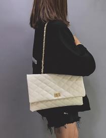 Fashion White Grid Shape Design Pure Color Shoulder Bag