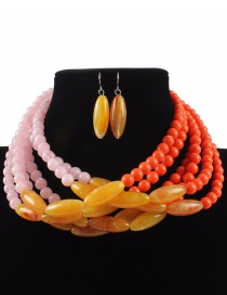 Fashion Yellow+pink Color Matching Design Multi-layer Jewelry Sets