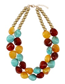 Fashion Yellow+red Stone Shape Design Color Matching Necklace