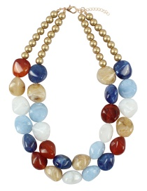 Fashion Blue+red Stone Shape Design Color Matching Necklace