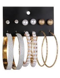 Fashion Gold Color Circular Ring&pearls Decorated Earrings(12pcs)