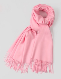 Fashion Light Pink Tassel Decorated Pure Color Scarf