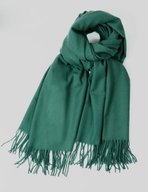 Fashion Dark Green Tassel Decorated Pure Color Scarf