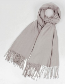 Fashion Light Khaki Tassel Decorated Pure Color Scarf