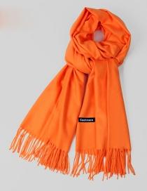 Fashion Orange Pure Color Decorated Warm Scarf
