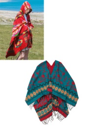 Fashion Red+peacock?blue Geometric Shape Pattern Design Thicken Scarf