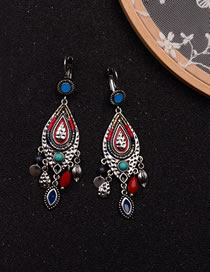 Fashion Blue+red Beads Decorated Color Matching Earrings