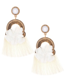 Elegant Beige Flower Decorated Tassel Earrings