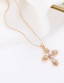 Elegant Gold Color Cross Pendant Decorated Simple Necklace
